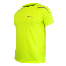 MAILLOT RUNNING - SILA PRIME JAUNE FLUO - Manches courtes