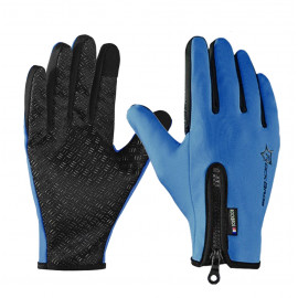 LONG GLOVES MTB ROCKBROS -THERMAL ZIP BLUE NAVY