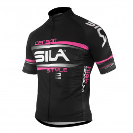 JERSEY SILA CARBON STYLE 2 PINK-Short sleeves