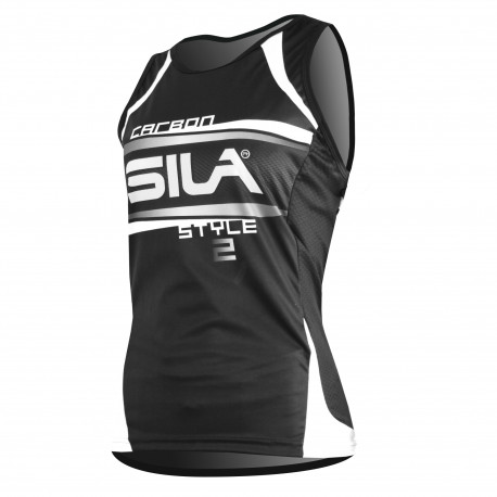 RUNNING WOMAN SLEEVELESS JERSEY SILA CARBON STYLE 2 - WHITE