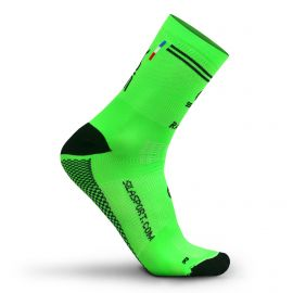 MEDIUM HEIGHT SOCKS SILA RACING - FLUO GREEN / BLACK