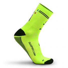 MEDIUM HEIGHT SOCKS SILA RACING - FLUO YELLOW / BLACK