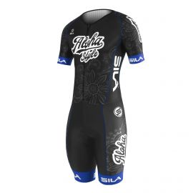 SKATING SUIT SILA ALOHA STYLE Black / Blue - Short sleeves