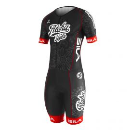 SKATING SUIT SILA ALOHA STYLE Black / Red - Short sleeves