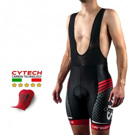 CUISSARD CYCLISME CARBON STYLE ROUGE