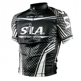 MAILLOT CARBON STYLE BLANC - Manches Courtes
