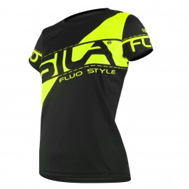 MAILLOT RUNNING FEMME - SILA FLUO STYLE 3 JAUNE - Manches courtes