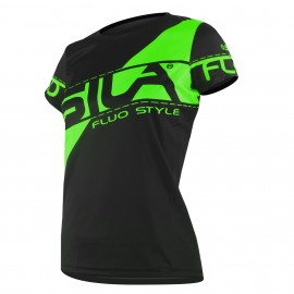MAILLOT RUNNING FEMME - SILA FLUO STYLE 3 VERT - Manches courtes