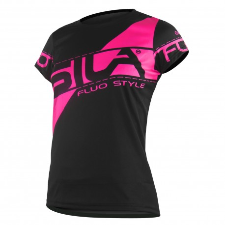 MAILLOT RUNNING FEMME - SILA FLUO STYLE 3 ROSE - Manches courtes